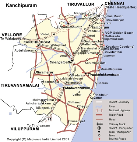 Kanchipuram District Map, Kanchipuram, Kanchipuram Map, Kanchipuram Route Map