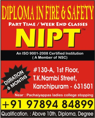 NIPT Kancheepuram, Fire and Safety Courses, National Institute of Professional Training, Fire safety related course , Fire & Safety Training, Kancheepuram NIPT, Kanchipuram NIPT,  , National Institute of Professional Training in Kanchipuram, NIPT in Kanchipuram.