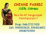 Chinni Fabric Silk Sareers Kanchipuram, Pure Silk Sareers Textile